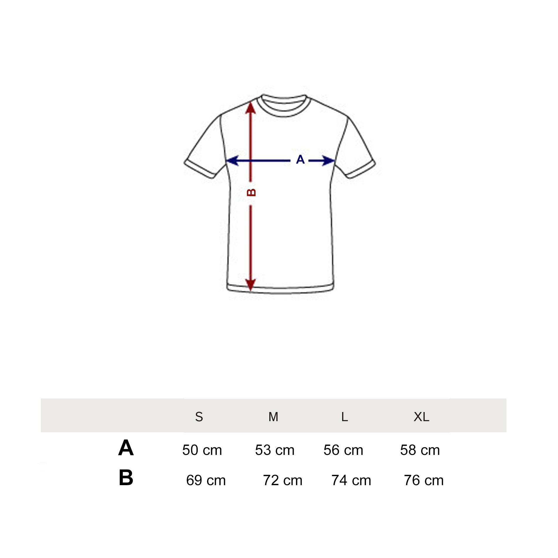 T-shirts Size Guide 2017