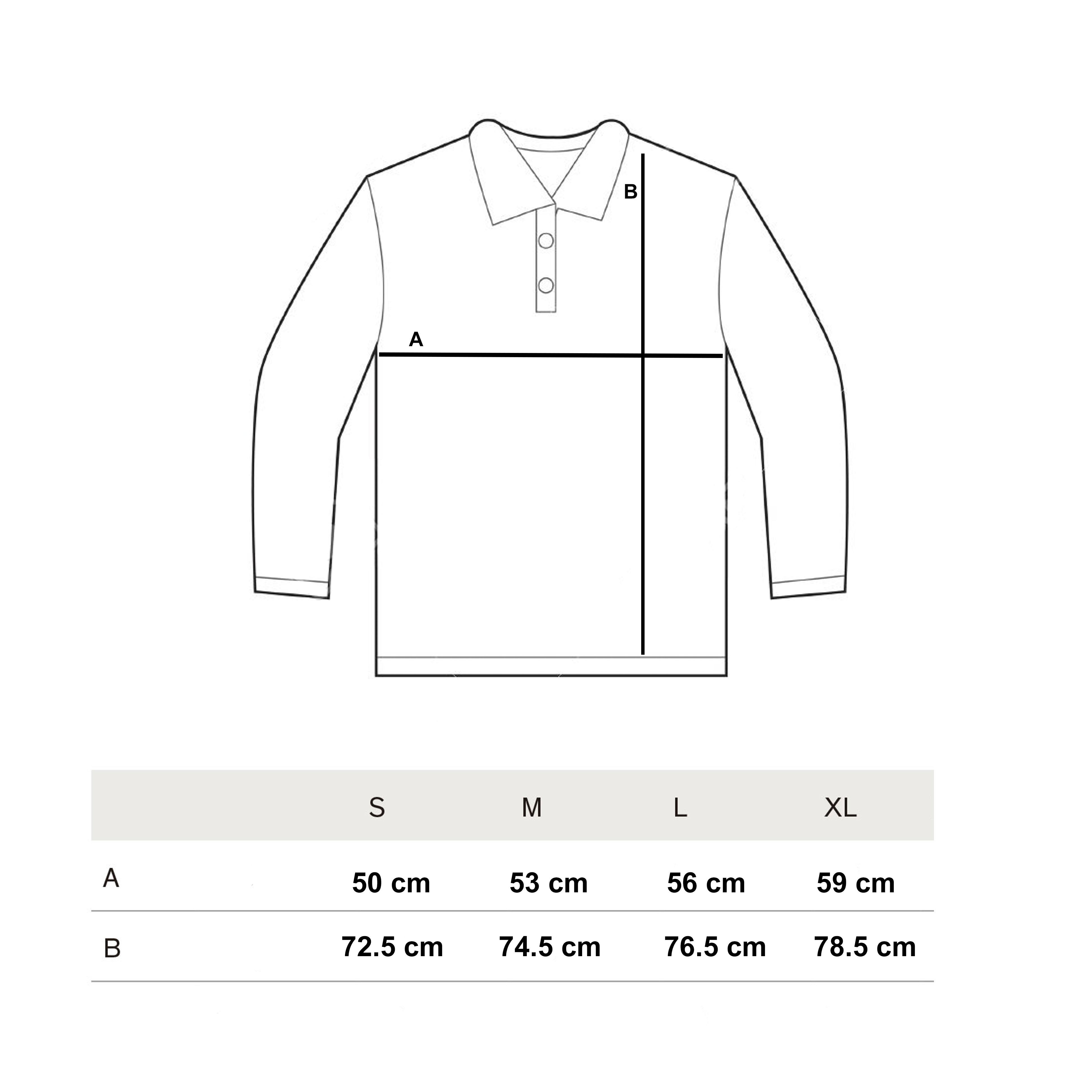 Guía de tallas polos manga larga invierno 2018