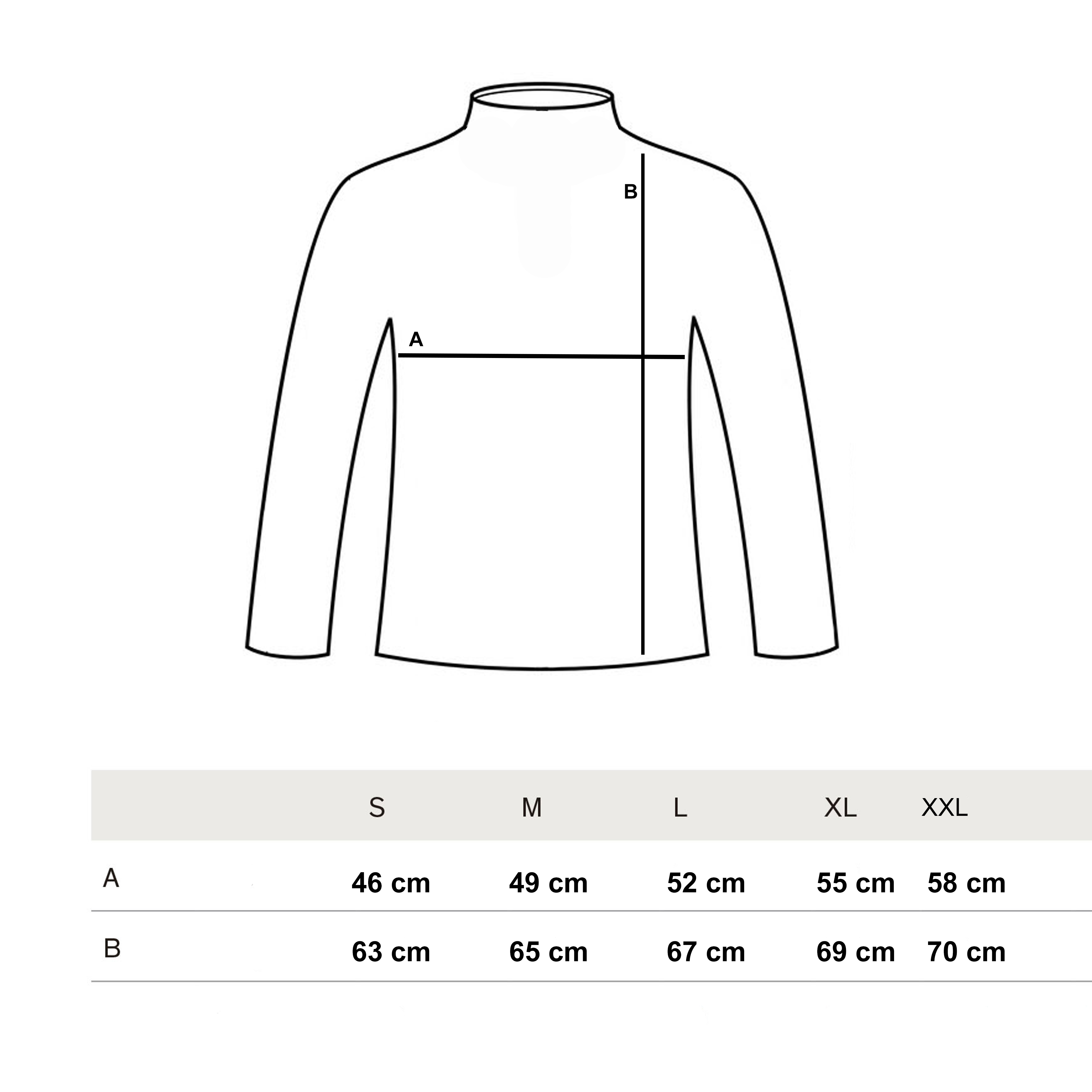 Size Guide Turtleneck Jersey