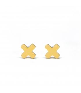 X Gold Earrings