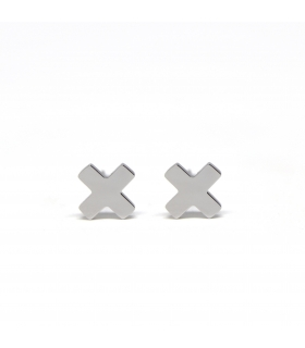 X Silver Earrings