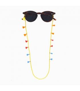 Cordón de Gafas Cadena Dorada Pompones