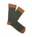 Green And Orange Ribbed Socks