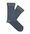 Calcetines Canalé Azul Y Gris