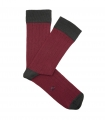 Red And Grey Ribbed Socks