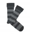 Grey Striped Ribbed Socks