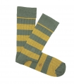 Green And Yellow Striped Ribbed Socks