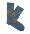 Light Blue And Mustard Rhombus Socks