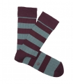 Burgundy And Light Blue Striped Ribbed Socks