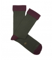 Green And Burgundy Ribbed Socks